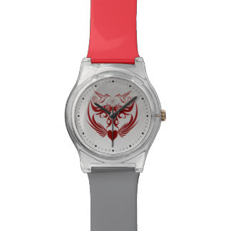 Butterfly Wings Hummingbird Flower red Wristwatches
