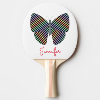 Butterfly With Colorful Striped Wings; Custom Name Ping Pong Paddle