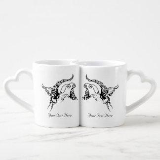 Butterfly with Flower(Henna)(Black) Coffee Mug Set
