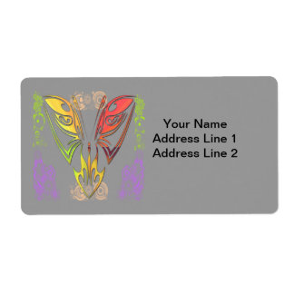 Butterfly with Flowers Shipping Label