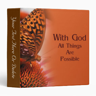 Butterfly With God Inspirational Nature Vinyl Binders