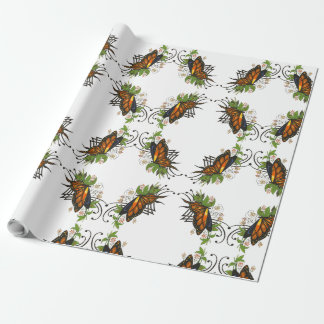 butterfly with green wrapping paper