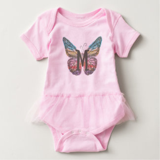 Butterfly with Letter M Baby Bodysuit