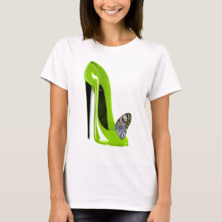 Butterfly with Lime Green Stiletto Shoe Art Design T-Shirt