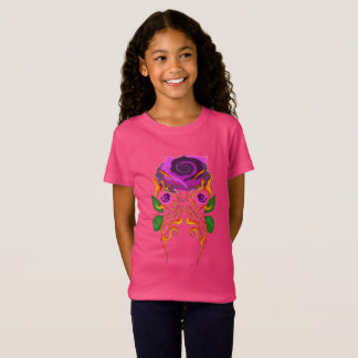 BUTTERFLY WITH PURPLE ROSE PRINT FOR GIRLS SHIRT