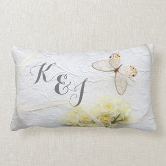 Butterfly with spring flowers wedding lumbar pillow