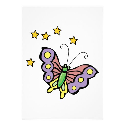 butterfly with stars design invite