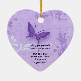 Butterfly with true friends saying ceramic heart ornament