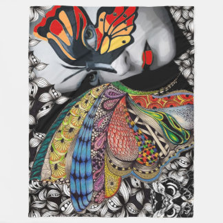 Butterfly woman Fleece Blanket