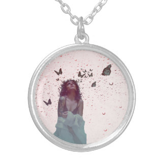 Butterfly Woman Silver Plated Necklace