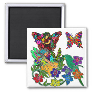 Butterfly Women Birds Floral Square Magnet