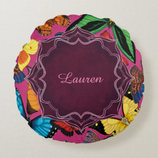 Butterfly World Customized Round Pillow
