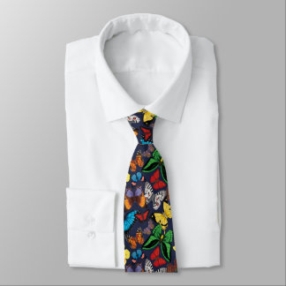 Butterfly World Navy Tie