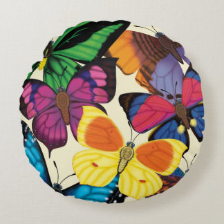 Butterfly World Reversible Round Pillow