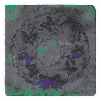 """Butterfly Wreath"" Christmas Stone Trivet (Asphlt)"