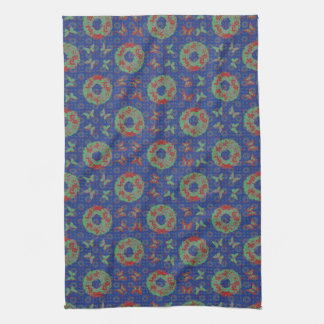 """""""Butterfly Wreath"""" Holiday Kitchen Towel (PatBlue)"""