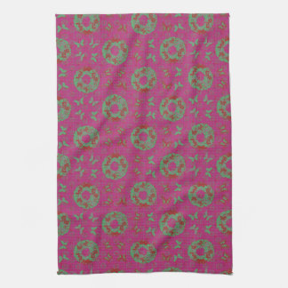 """Butterfly Wreath"" Holiday Kitchen Towel (PatPink)"