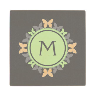 Butterfly Wreath Monogram White Bright Green Gray Maple Wood Coaster