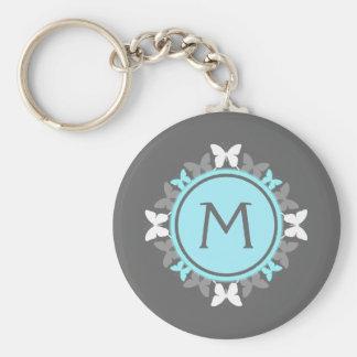 Butterfly Wreath Monogram White Ice Blue Gray Basic Round Button Keychain