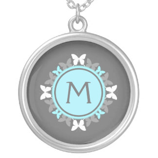 Butterfly Wreath Monogram White Ice Blue Gray Silver Plated Necklace