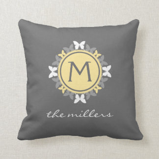 Butterfly Wreath Monogram White Yellow Grey Throw Pillow