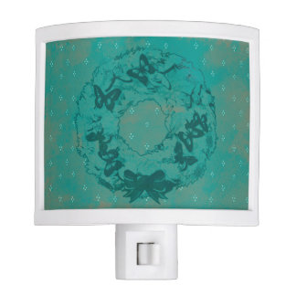 """Butterfly Wreath"" Night Light (Teal)"