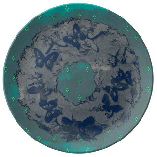 """Butterfly Wreath"" Porcelain Plate (GreyTeal)"