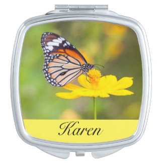 Butterfly Yellow Flower Compact Mirrors