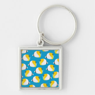 Butterflyfish Silver-Colored Square Keychain