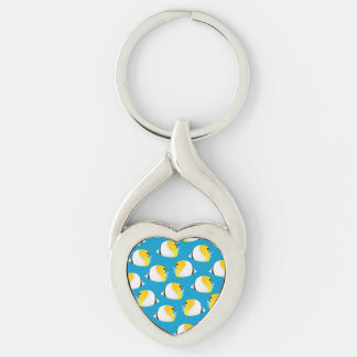 Butterflyfish Silver-Colored Twisted Heart Keychain