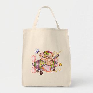 Butterflying Bears Pixel Art Grocery Tote Bag