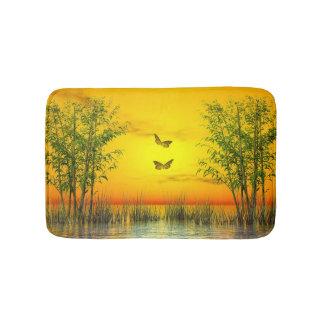 Butterlflies by sunset - 3D render Bath Mat