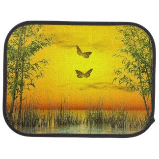Butterlflies by sunset - 3D render Car Mat