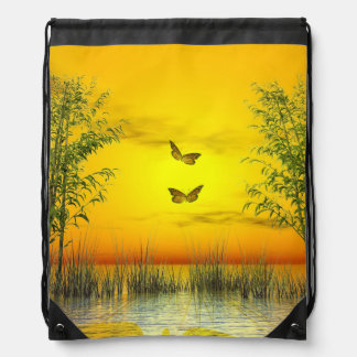 Butterlflies by sunset - 3D render Drawstring Bag