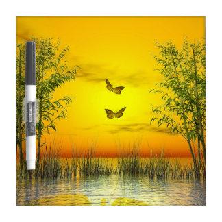 Butterlflies by sunset - 3D render Dry Erase Board