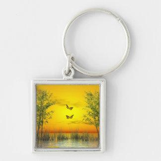 Butterlflies by sunset - 3D render Keychain