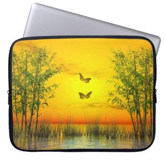 Butterlflies by sunset - 3D render Laptop Sleeve