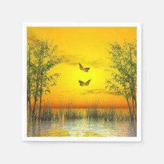 Butterlflies by sunset - 3D render Napkin