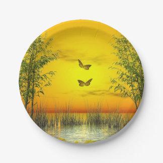 Butterlflies by sunset - 3D render Paper Plate