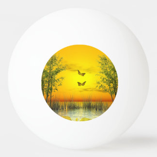 Butterlflies by sunset - 3D render Ping Pong Ball