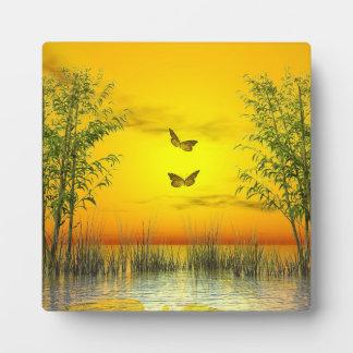 Butterlflies by sunset - 3D render Plaque