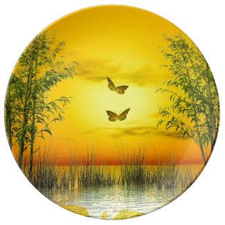 Butterlflies by sunset - 3D render Plate