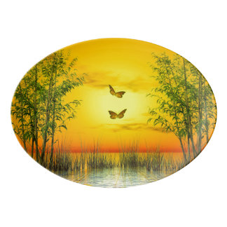 Butterlflies by sunset - 3D render Porcelain Serving Platter
