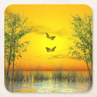 Butterlflies by sunset - 3D render Square Paper Coaster