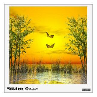 Butterlflies by sunset - 3D render Wall Sticker