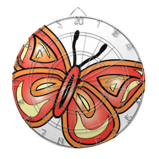 butterly-graphic dartboard with darts