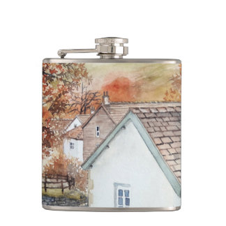 Buttermere Village, Lake District, England Hip Flask