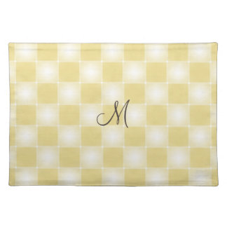 Buttery yellow soft checkerboard monogrammed placemat