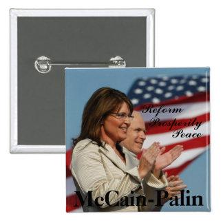 button7, Reform, Prosperity , Peace, McCain-Palin 2 Inch Square Button