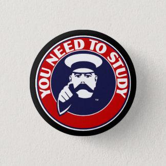 Button badge in University of Edinburgh colours.